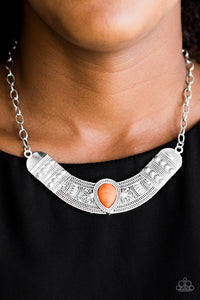 Paparazzi Very Venturous - Orange - Floral and Tribal Inspired Shimmery Silver Necklace - Lauren's Bling $5.00 Paparazzi Jewelry Boutique