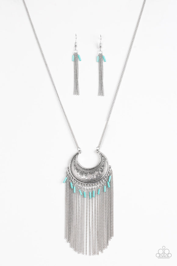 Paparazzi Desert Coyote - Blue Beads - Silver Chain and Fringe Necklace and matching Earrings
