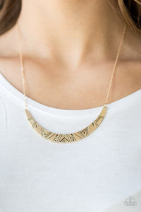 Paparazzi Howl At The Moon - Gold - Tribal Inspired Crescent Frame - Necklace & Earrings - Lauren's Bling $5.00 Paparazzi Jewelry Boutique