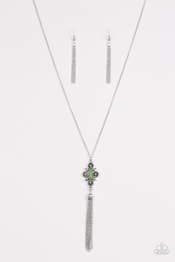 Paparazzi Sedona Skies - Green Beads - Silver Necklace and matching Earrings - Lauren's Bling $5.00 Paparazzi Jewelry Boutique