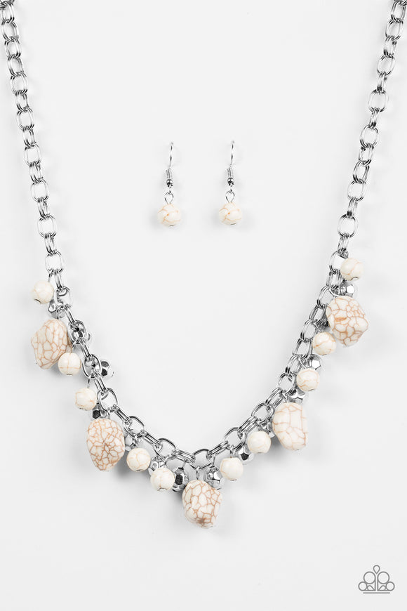 Paparazzi Paleo Princess - White Stones - Silver Chains Necklace and matching Earrings