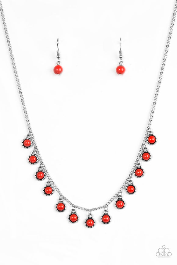 Paparazzi Gypsy Glow - Red Beads - Silver Chain Necklace and matching Earrings