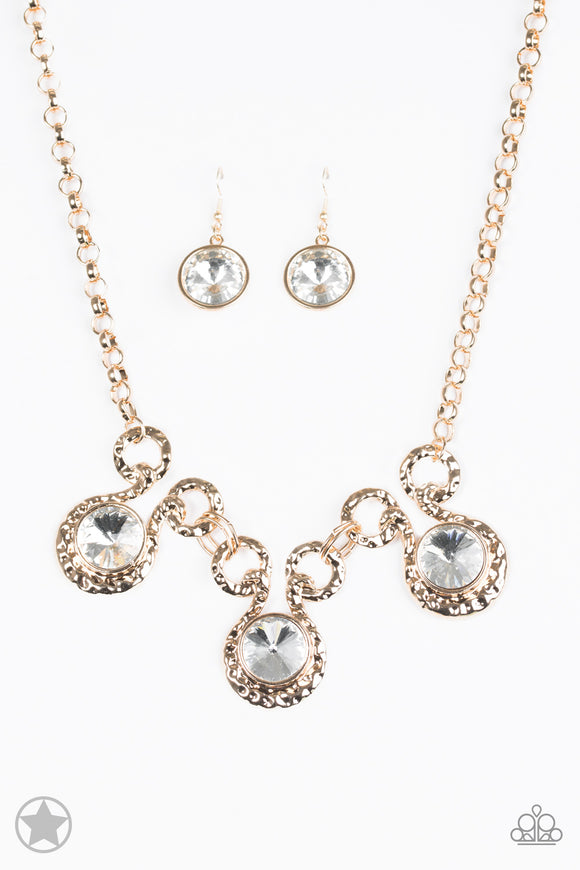 Paparazzi Hypnotized - Gold Rhinestones - Blockbuster Necklace and matching Earrings
