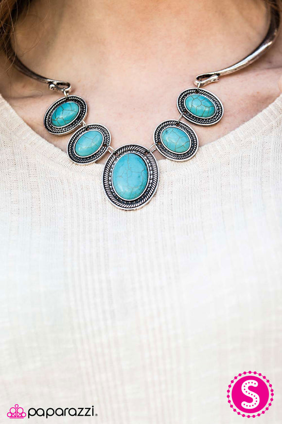 Paparazzi River Ride - Blue Turquoise Bead - Silver Statement Piece Necklace and matching Earrings