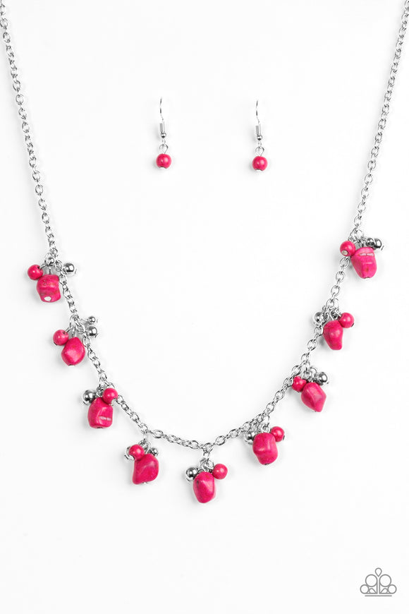 Paparazzi Rocky Mountain Magnificence - Pink Stones - Necklace and matching Earrings