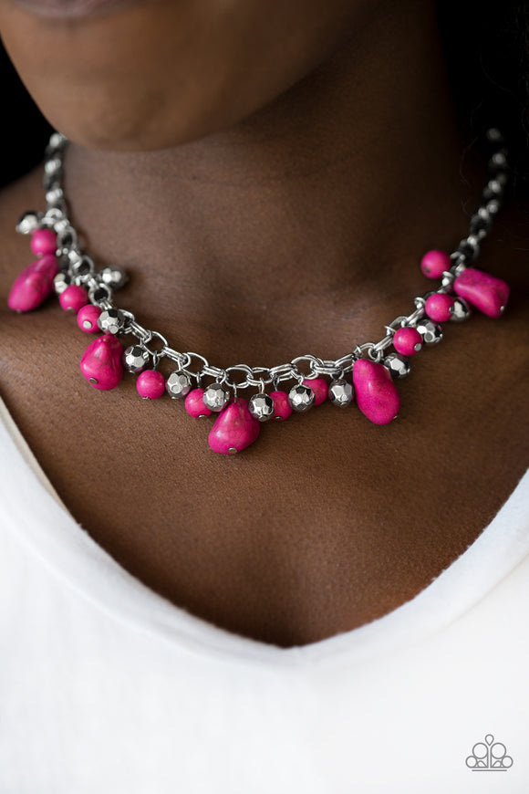 Paparazzi Paleo Princess - Pink Stones - Silver Necklace and matching Earrings