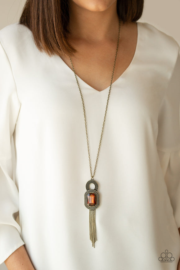 Paparazzi A Good TALISMAN Is Hard To Find - Brown Gem - Necklace and matching Earrings - Lauren's Bling $5.00 Paparazzi Jewelry Boutique