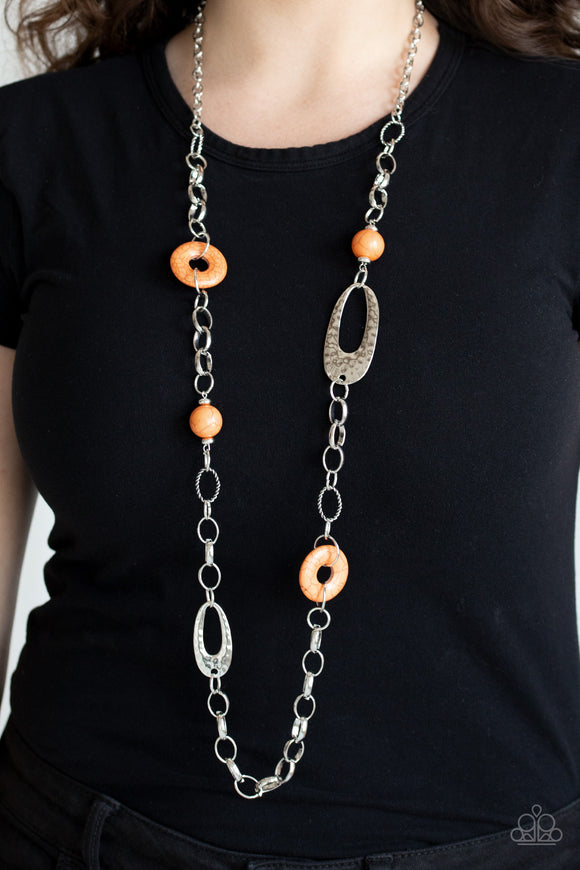 Paparazzi Artisan Artifact - Orange Stone Beads - Silver Rings - Hammered Necklace & Earrings - Lauren's Bling $5.00 Paparazzi Jewelry Boutique
