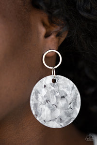 Paparazzi Beach Bliss - White - Shell Like Iridescence - Acrylic Post Earrings - Lauren's Bling $5.00 Paparazzi Jewelry Boutique