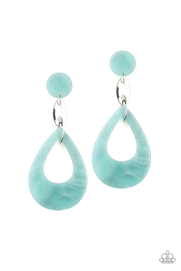 Paparazzi Beach Oasis - Blue - Faux Marble Acrylic Teardrop - Post Earrings
