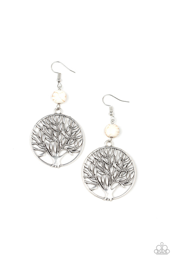 Paparazzi Bountiful Branches - White Stone - Shimmery Silver Tree of Life - Earrings