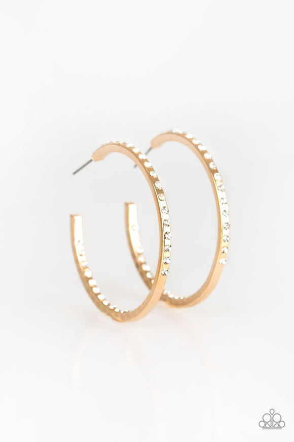 Paparazzi Comin Into Money - Gold - White Rhinestone Hoop Earrings