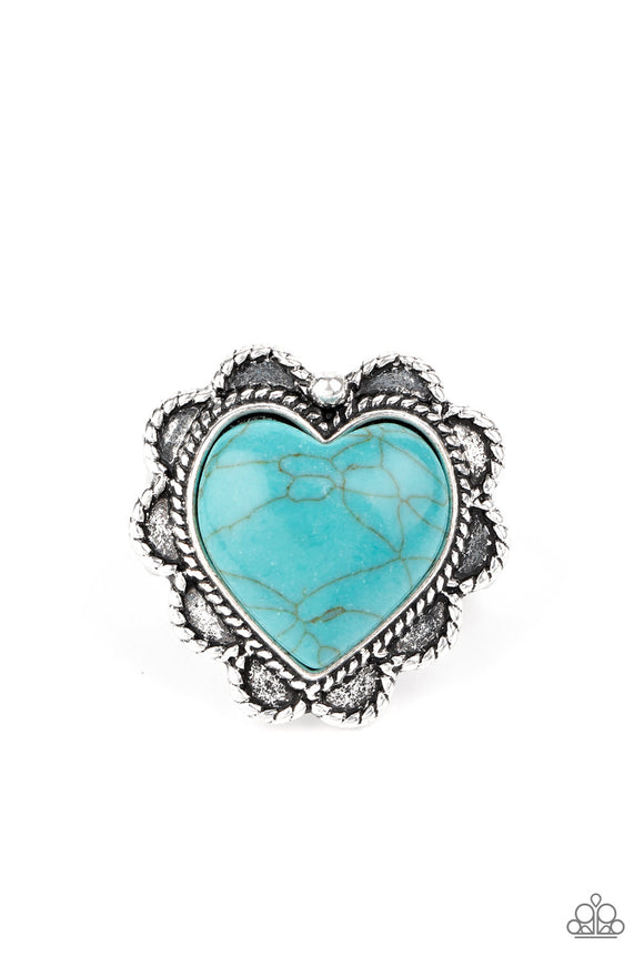 Paparazzi Desert Desire - Blue Turquoise Stone Heart - Ring