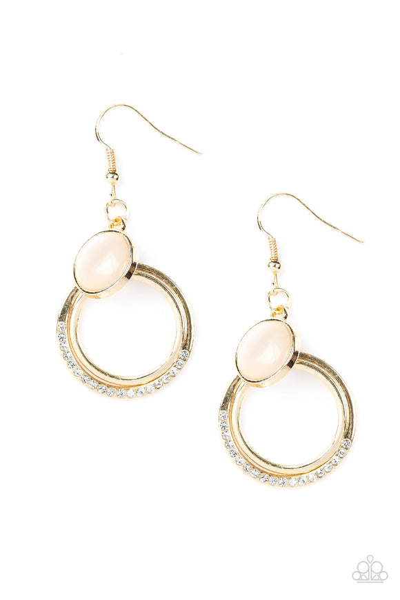Paparazzi Dreamily Dreamland - Gold - Moonstone / Rhinestones - Hoop Earrings
