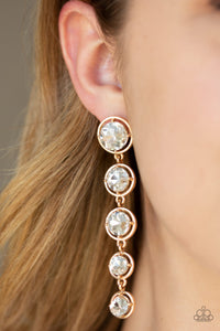 Paparazzi Drippin In Starlight - Gold - White Rhinestone Gems - Post Earrings - Lauren's Bling $5.00 Paparazzi Jewelry Boutique
