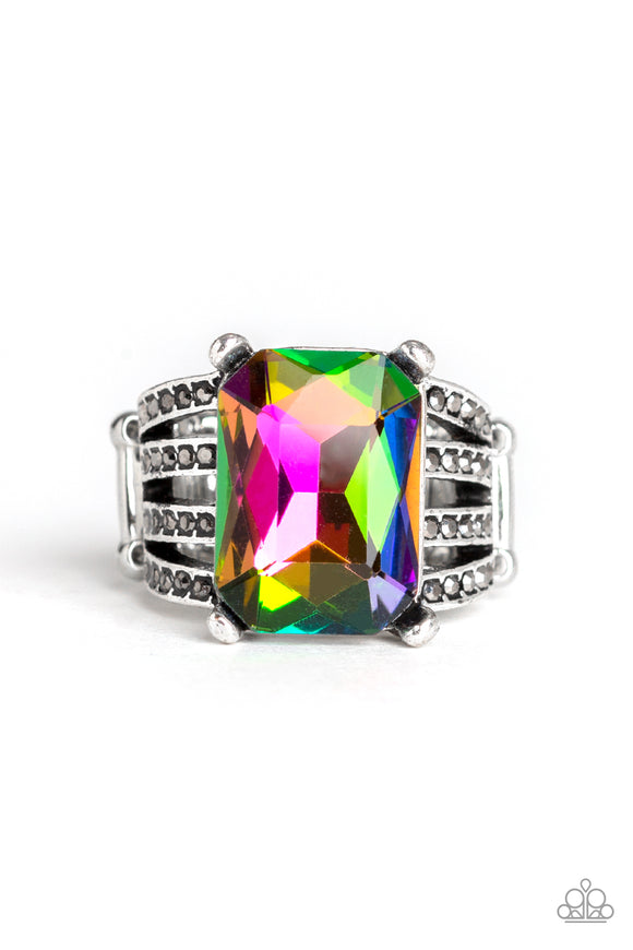 Paparazzi Expect Heavy REIGN - Multi - Rainbow Gem - Rhinestones - Silver Ring