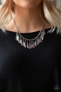 Paparazzi Feathered Ferocity - Multi - Black, Red & Turquoise Stones - Feathers - Necklace & Earrings - Lauren's Bling $5.00 Paparazzi Jewelry Boutique