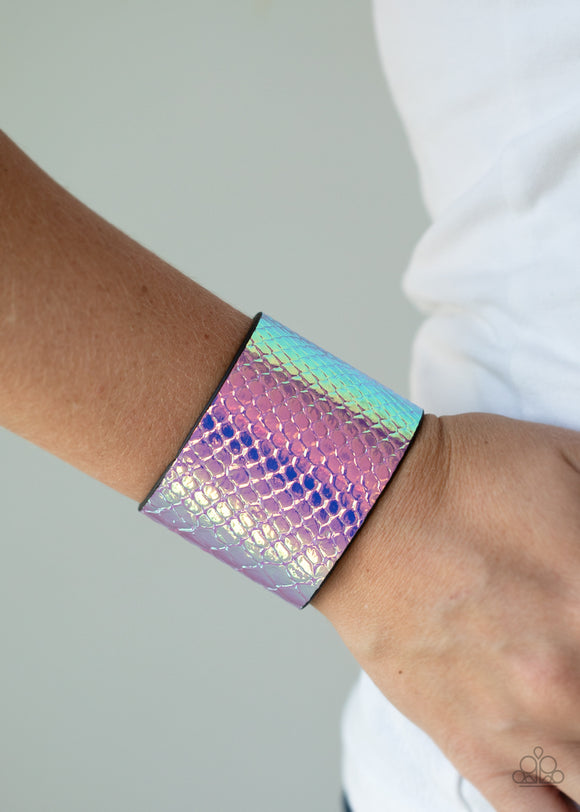 Paparazzi Galactic Galapagos - Pink - Metallic Leather Band - Snap Bracelet