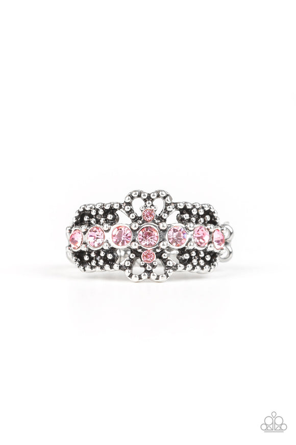 Paparazzi GLOW Your Mind - Pink - Filigree Heart Rhinestones - Silver Filigree - Ring