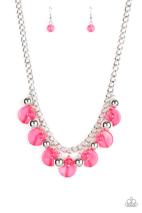 Paparazzi Gossip Glam - Pink Beads - Necklace & Earrings