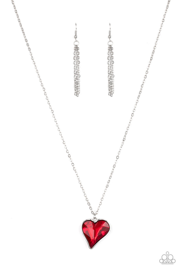 Paparazzi Heart Flutter - Red - Rhinestone Gem - Silver Necklace and matching Earrings