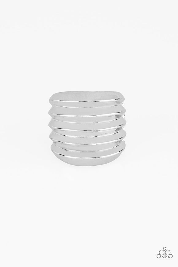 Paparazzi Hit Em Where It Hurts - Silver - Rippling Thick Silver Ring