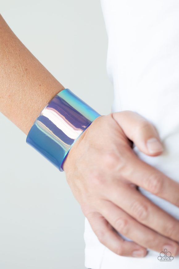 Paparazzi Holographic Aura - Blue - Cuff Bracelet - Lauren's Bling $5.00 Paparazzi Jewelry Boutique