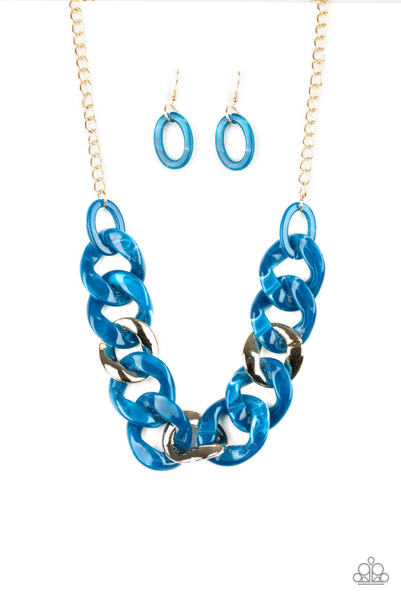 Paparazzi I Have A HAUTE Date - Blue - Faux Marble - Acrylic - Gold Chain Necklace and matching Earrings