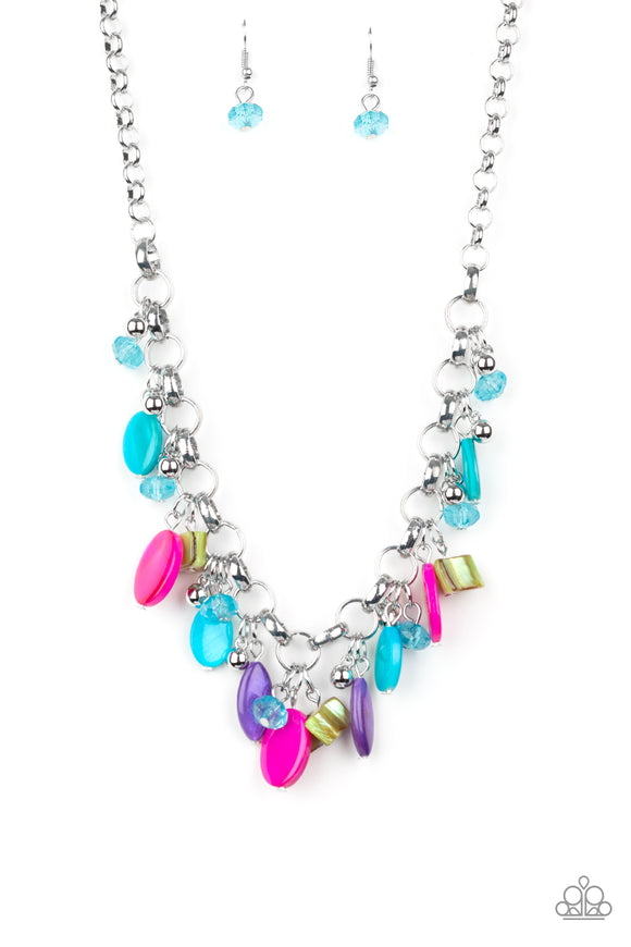 Paparazzi I Want To SEA The World - Multi - Bold Silver Chain Necklace & Earrings
