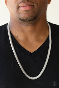 Paparazzi Kingpin - Silver - Thick Herringbone Chain Necklace - Men's Collection - Lauren's Bling $5.00 Paparazzi Jewelry Boutique
