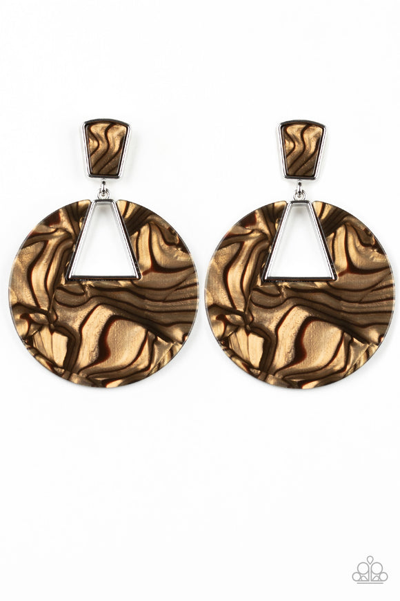 Paparazzi Let HEIR Rip! - Brown - Faux Marble Acrylic - Post Earrings