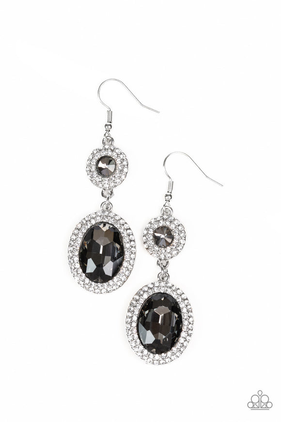 Paparazzi Let It BEDAZZLE - Silver Smoky Gems - White Rhinestones - Earrings - Lauren's Bling $5.00 Paparazzi Jewelry Boutique