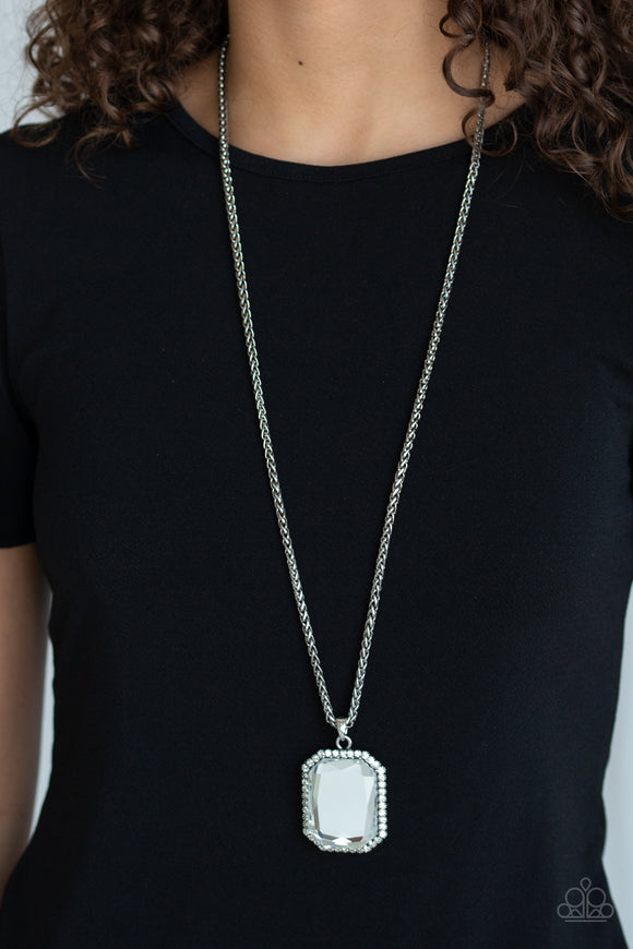Paparazzi Let Your HEIR Down - White Emerald Gem - Necklace & Earrings - Life of the Party Exclusive October 2019 - Lauren's Bling $5.00 Paparazzi Jewelry Boutique