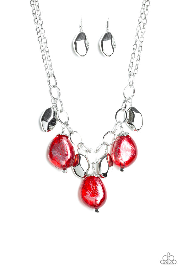 Paparazzi Looking Glass Glamorous - Red Beads - Faceted Silver Beads - Necklace and matching Earrings - Lauren's Bling $5.00 Paparazzi Jewelry Boutique