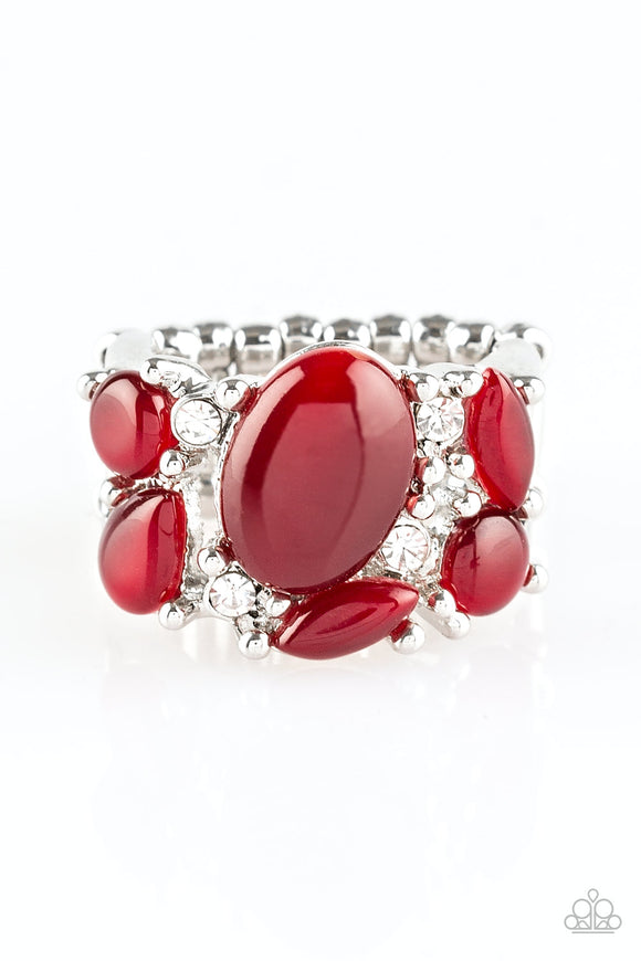 Pre-Order Ships 1/30 - Paparazzi - Modern Moonwalk - Red - Moonstone - White Rhinestones - Ring