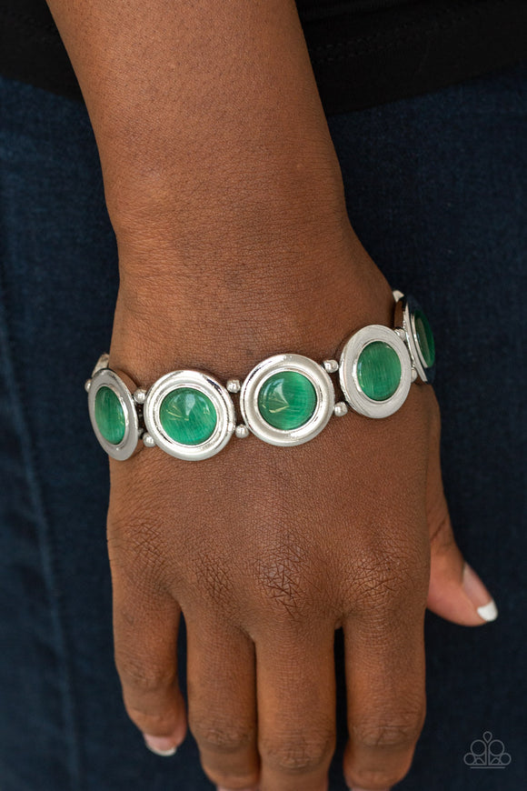 Paparazzi Muster Up The Luster - Green - Cat's Eye Moonstone - Silver Stretchy Band Bracelet