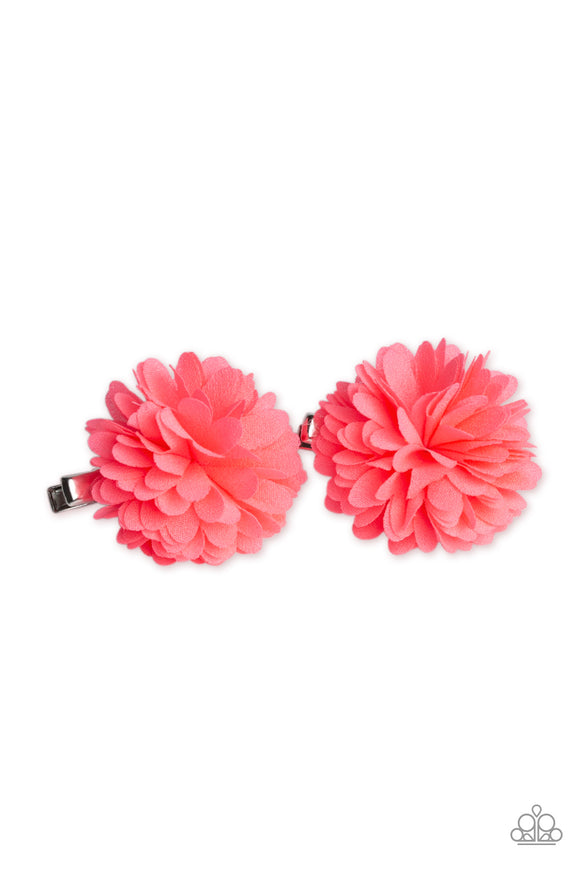 Paparazzi Neatly Neon - Pink - Chiffon Petals - Pair of hair Clips