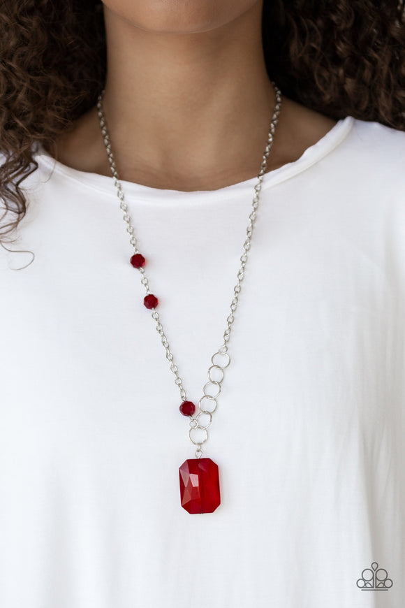 Paparazzi Never a Dull Moment - Red - Emerald Cut Gem - Necklace and matching Earrings - Lauren's Bling $5.00 Paparazzi Jewelry Boutique