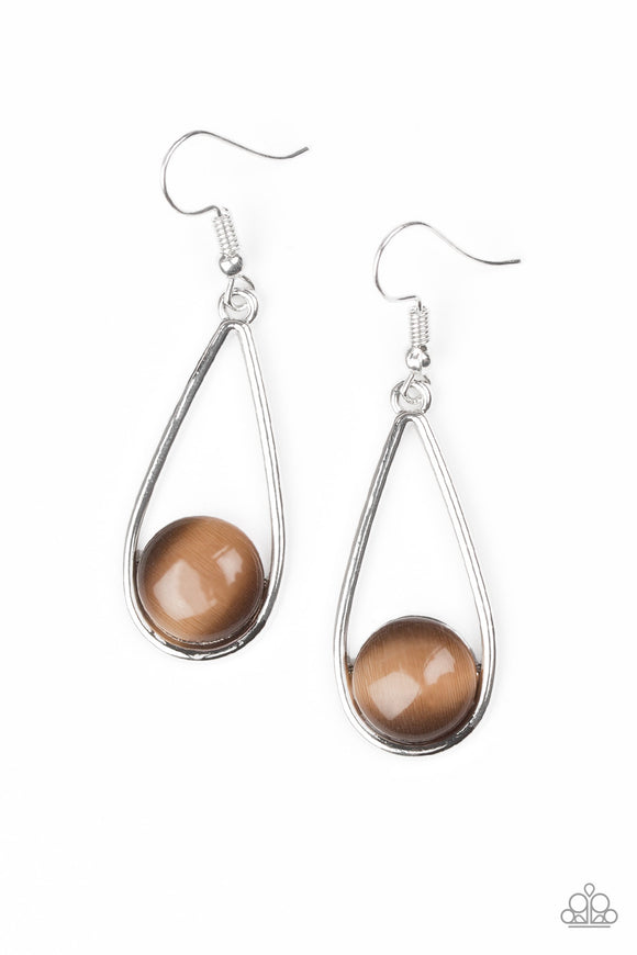 Paparazzi Over The Moon - Brown Moonstone - Silver Teardrop Earrings