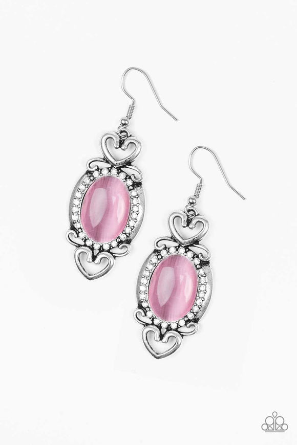 Paparazzi Port Royal Princess - Pink Moonstone - White Rhinestones - Silver Heart - Earrings