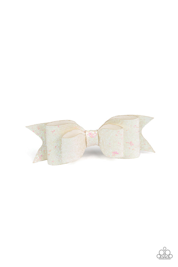 Paparazzi Put A Bow On It - White - Sparkles - White Leather Bow - Hair Clip