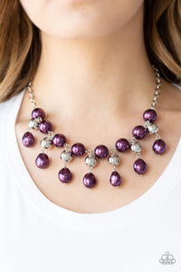 Paparazzi Queen Of The Gala - Purple Pearls - Silver Necklace & Earrings - Lauren's Bling $5.00 Paparazzi Jewelry Boutique