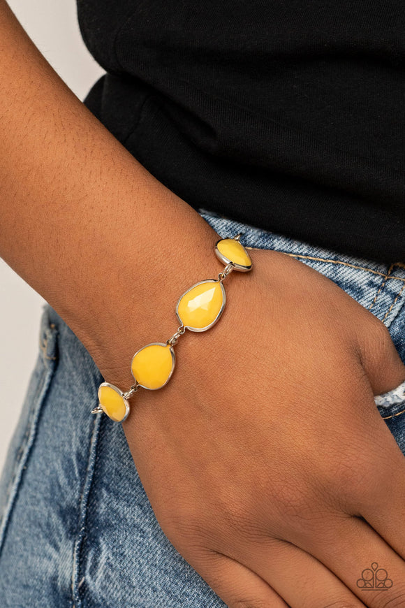 Paparazzi REIGNy Days - Yellow - Adjustable Bracelet - Lauren's Bling $5.00 Paparazzi Jewelry Boutique