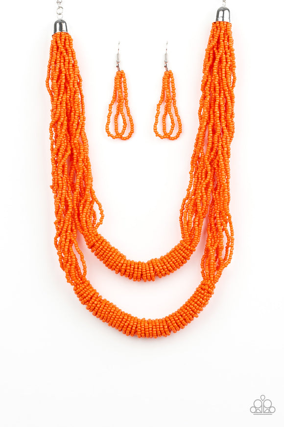 Paparazzi Right As RAINFOREST - Orange - Seed Beads - Necklace and matching Earrings