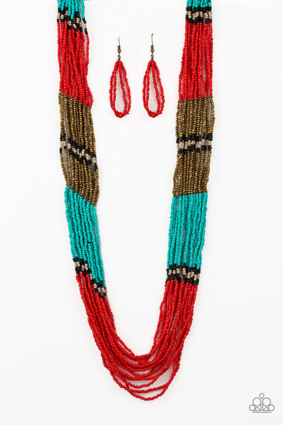 Paparazzi Rio Roamer - Red - Black, Brass, Tan and Turquoise Seed Beads - Necklace and matching Earrings