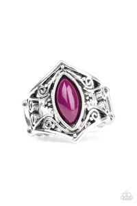 Paparazzi Roamin Rogue - Purple Bead - Marquise Shape - Silver Filigree - Ring - Lauren's Bling $5.00 Paparazzi Jewelry Boutique