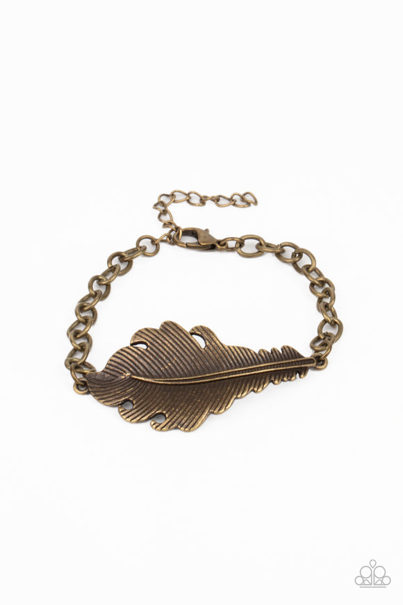 Paparazzi Rustic Roost - Brass Feather - Bracelet