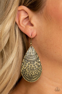 Paparazzi Safari Splash - Brass - Teardrop Stamped Patterns - Earrings - Lauren's Bling $5.00 Paparazzi Jewelry Boutique