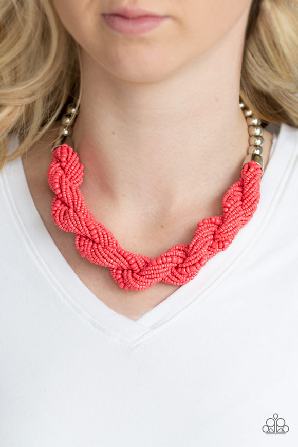 Paparazzi Savannah Surfin - Orange / Coral Seed Beads - Necklace and matching Earrings