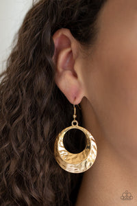Paparazzi Savory Shimmer - Gold - Hammered in High Sheen - Beveled Gold Hoop Earrings - Lauren's Bling $5.00 Paparazzi Jewelry Boutique